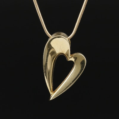"John Antencio 14K Yellow Gold ""Devotion Heart"" Pendant Necklace"