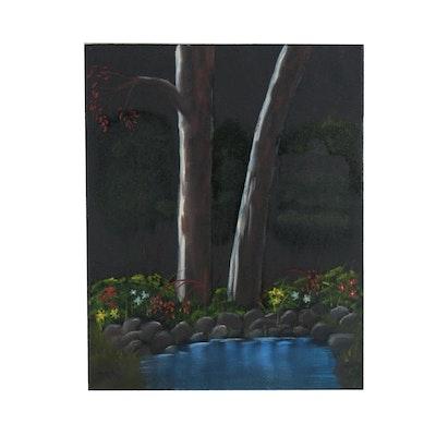 Acrylic Nocturne Landscape Painting