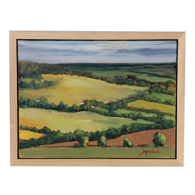 """Jay Wilford Oil Painting """"Rolling Farm Country"""""""