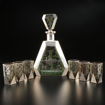 Venetian Silver Overlaid Green Glass Decanter and Shot Glasses