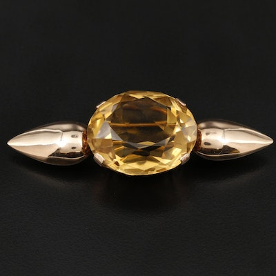 Victorian 14K Yellow Gold Citrine Brooch