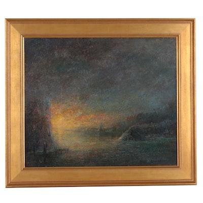 Wojciech Górecki Tonalist Landscape Oil Painting, 1996