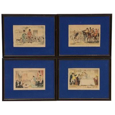 """Hand-colored Lithographs After John Leech """"Handley Cross"""""""