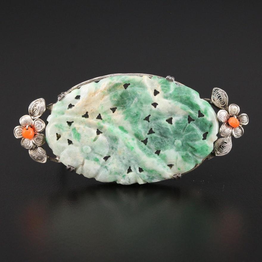 Vintage Sterling Silver Jadeite and Coral Floral Brooch