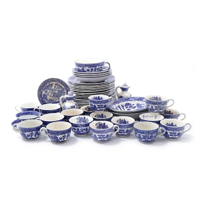Blue Willow Pattern Ironstone Dinnerware, English and Japanese Makers, 20th C.