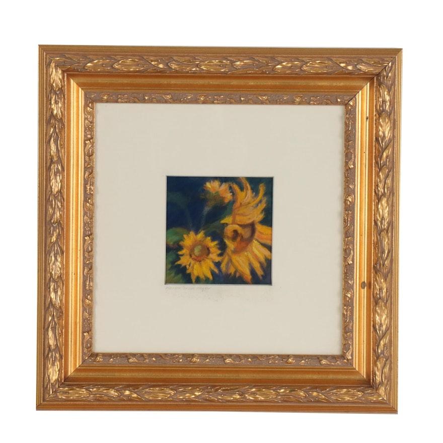 Marion Corbin-Mayer Floral Pastel Drawing