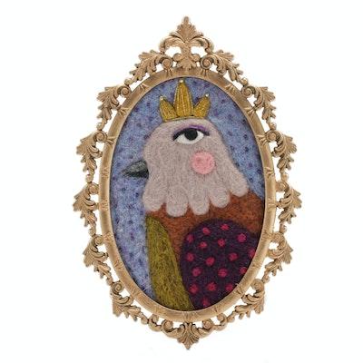 Sarah Miller Mixed Media Wall Hanging of Bird with Crown