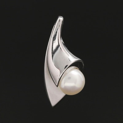 14K White Gold Cultured Pearl Pendant