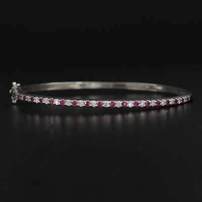 14K White Gold Diamond and Ruby Hinged Bangle Bracelet