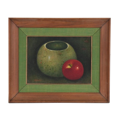 Still Life Oil Painting of Jar and Apple