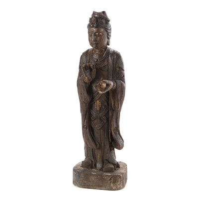 Chinese Guanyin Polychrome Wood Sculpture, Early 20th Century