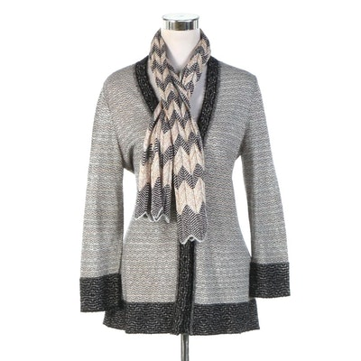 M Missoni Knit Cardigan with Metallic Accents and Missoni Chevron Knit Scarf
