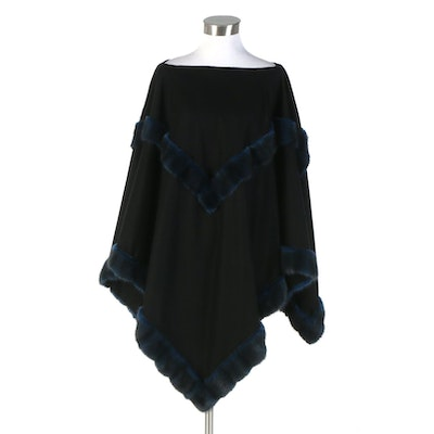 Neiman Marcus Black Wool Poncho with Dyed Blue Mink Fur