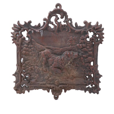 Victorian Cast Iron Fireback Insert with Hunting Dog Scene