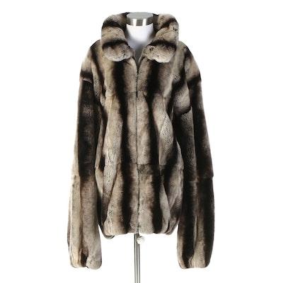 Men's Chinchilla Dyed Rabbit Fur Coat
