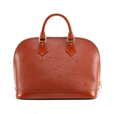 Louis Vuitton Alma PM Bag in Kenyan Fawn Epi Leather with Smooth Leather Trim