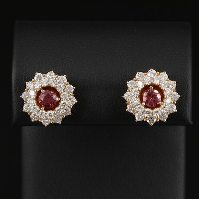 14K Yellow Gold Tourmaline Stud Earrings with 2.90 CTW Diamond Earring Jackets