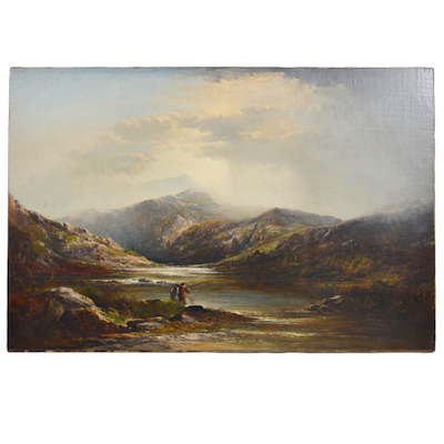 Landscape Oil Painting of Fishing Scene, 19th Century