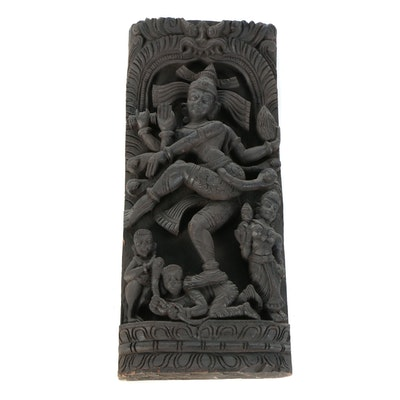 Shiva Nataraja Carved Wood High Relief Panel