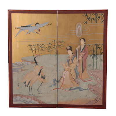Chinese Gouache Painting on Folding Screen