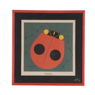 "Charley Harper Serigraph ""Ladybug"""
