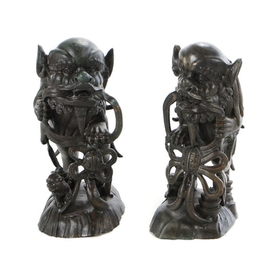 East Asian Brass Guardian Lions
