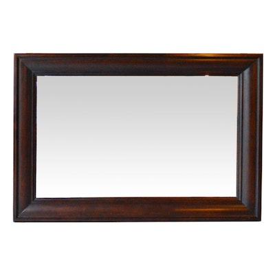 Rectangular Mahogany Finish Wall Mirror, Contemporary