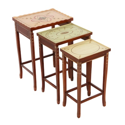 Federal Style Paint-Decorated Wood Nesting Tables, Late 20th Century