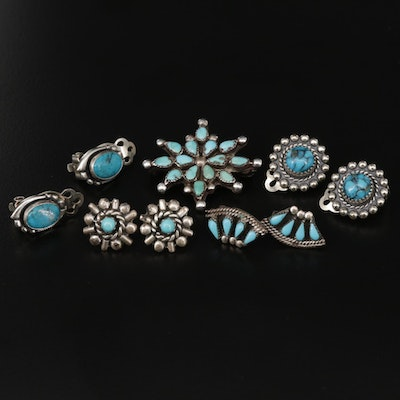 Southwestern Style Sterling Silver Turquoise Earrings Selection and Brooch