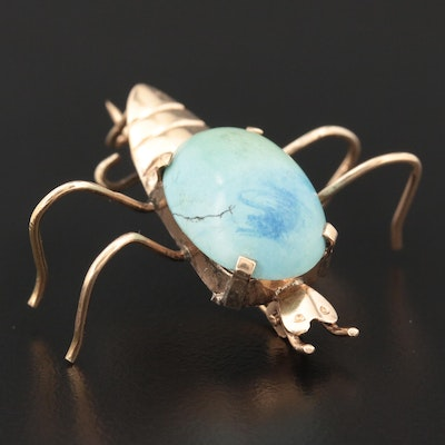 Vintage 14K Yellow Gold Turquoise Spider Brooch