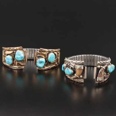 Sterling Turquoise and Bear Claw Watch Bands Featuring Stan Lee Navajo Diné