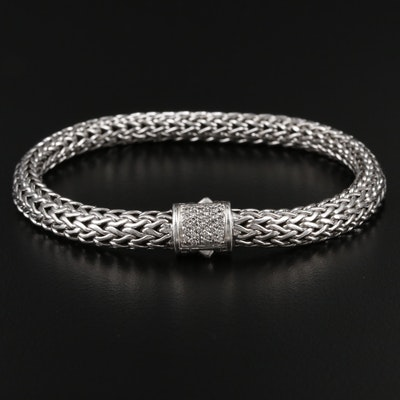 John Hardy Sterling Silver and Diamond Bracelet