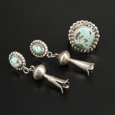 Sterling Silver Turquoise Ring and Squash Blossom Earrings