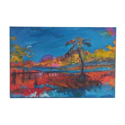 "David Laug Expressionist Style Oil Painting ""Key West"""