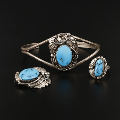 Southwestern Style Sterling Silver Turquoise Bracelet, Ring and Brooch Set
