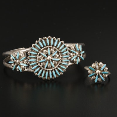 Samson and Lucille Bowekaty Sterling Silver Turquoise Cuff Bracelet With Ring