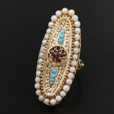 14K Yellow Gold Pearl, Garnet and Turquoise Elongated Oval Ring