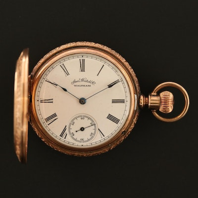 Waltham 14K Yellow Gold Engraved Antique Pocket Watch, Circa 1888