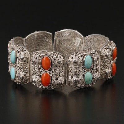 Sterling Silver Turquoise and Coral Filigree Station Bracelet