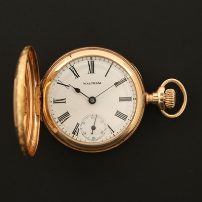 Antique Waltham 14K Gold Hunter Case Pocket Watch, 1902