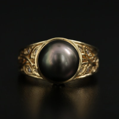14K Yellow Gold Pearl and Diamond Ring with Foliate Motif