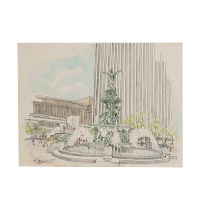 Bradley Kain Pen and Ink Drawing with Watercolor of Fountain Square, 1972