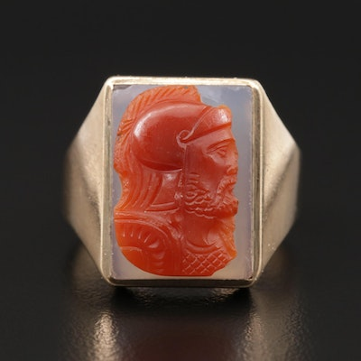 Vintage 10K Yellow Gold Sardonyx Cameo Carved Ring
