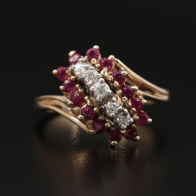 10K Yellow Gold Ruby and Diamond Cluster Ring