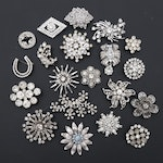 Assortment of Vintage Rhinestone Brooches
