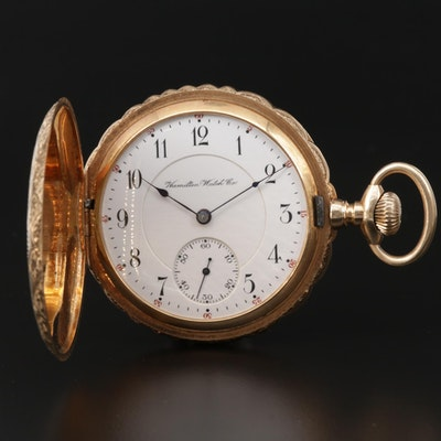 Antique Hamilton 14K Yellow Gold Hunter Case Pocket Watch