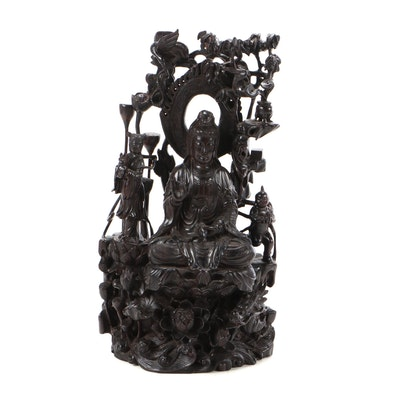 Chinese Guanyin Carved Hardwood Sculpture