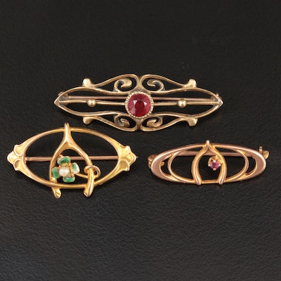 Vintage 10K Yellow Gold Red Glass, Garnet, Cultured Pearl and Enamel Brooches