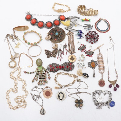 Watch Fob Chains with Vintage Brooches, Earrings and Necklaces