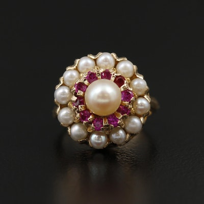 Vintage 14K Yellow Gold Pearl and Ruby Cluster Ring